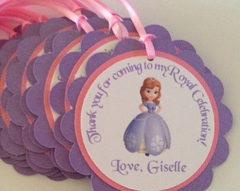 Sofia the first favor tags, Sofia the first party, princess favor tags, princess tags