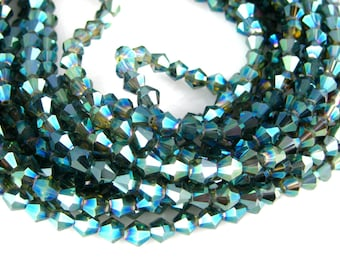 Chinese Crystal Beads - 6mm Blue Green Shimmer Faceted Bicone Chinese Crystal Beads - 1 STRAND (GG-08)