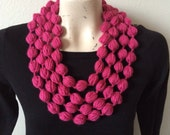 Bubble Puff Stitch Scarf Necklace in Raspberry, USA seller
