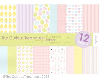 Easter spring A4 Craft Paper Pack Digital Download Curious Critters