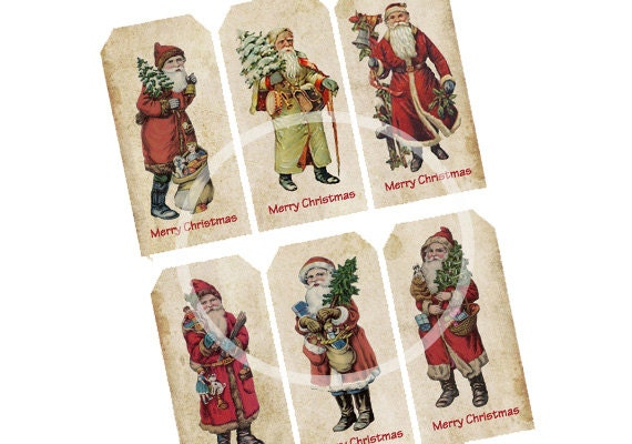 Vintage christmas tags digital instant download for Vintage christmas craft supplies
