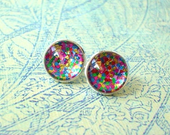 20% OFF -- Glittering firework multicolor Cabochon Stud Earrings/Great for Party,beautiful cute gift for her