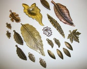 Mix of 20 Leaf Pendants and Charms
