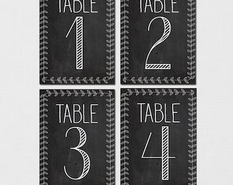 Chalkboard Table Numbers, Wedding Table Numbers, Rustic Chalkboard Table Numbers, Table Number, Vintage Table Numbers, DIY Printable