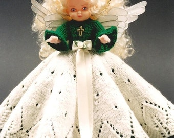 PDF Pattern. Knit Bed Doll Pattern - ANGEL Susan Eileen #3 In Millennium JAO Series. Full Lace Over Skirt. Lacy Leaves Knit Angel Doll