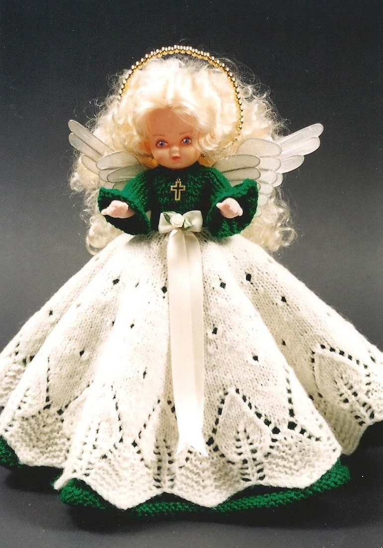 Knitting Patterns For Dolls Bedding : PDF Pattern. Knit Bed Doll Pattern ANGEL Susan Eileen 3 In