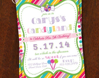 Candy Land Sweet Shoppe Invitation Candyland Birthday Party Printable 5x7 Baby Shower Sweet Shop