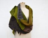 fairy patchwork shawl, felt, fleece in few shades of olive green beige brown, asymmetrical unique OOAK,soft wool felt cappucino handmade 108