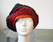slouch knit big red, grey visor beret, orange wool felt elements, unique design OOAK artsy modern boho fashion for woman art to wear hat 167