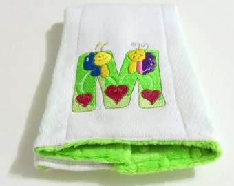 Bug  Font Burp Cloth Baby Embroidery Cloth Green Minky