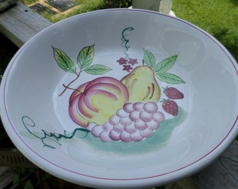 "Vintage Large Iron Stone Bowl China Japan White Fruit Serving Country Cottage Shabby Chic 12"" wide 3"" deep"