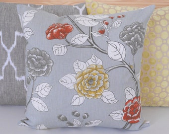 SALE Both sides, Gray, yellow and orange peony floral decorative pillow cover, Dwell Studio pillow