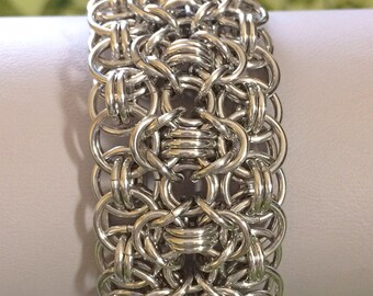 Shiny Silver Rondo a la Byzantine Bracelet Cuff - Ready to Ship - Fast Shipping