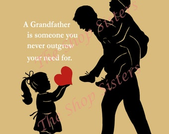 Grandfather Poem Grandpap Pap Zaydee Pappou Black Custom 8 x 10 Print Wall art Grandson Granddaughter FREE SHIPPING