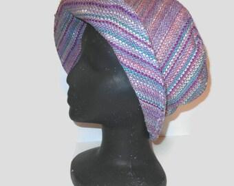 Handwoven Cloche Hat Purples Cotton, Silk, Rayon