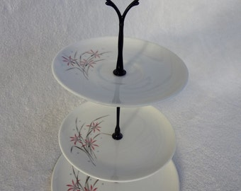 3 Tiered Dessert Stand, Syracuse China Flame Lily Plates
