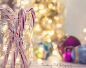 Christmas photography home decor lights holiday photo dreamy silver red pink candy cane gold glitter bokeh ornaments fine art photo wall art
