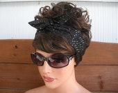 Womens Headband Dolly Bow Wired Headband Retro Fashion Accessories Women Headscarf Headwrap in Sparkle Fabric in Black