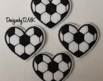 Soccer Heart Felt Embroidered Embellishment Clippie Cover SET of 4 - Multiple Sets Available