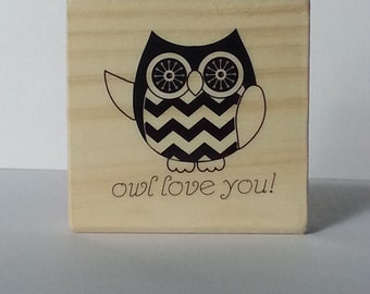 Owl Love You Wooden Mounted Rubber Stamping Block DIY cards, scrapbooking, tags, Greeting Cards, and Scrapbooking