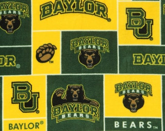 NCAA Baylor University Bears Fleece Fabric by the yard