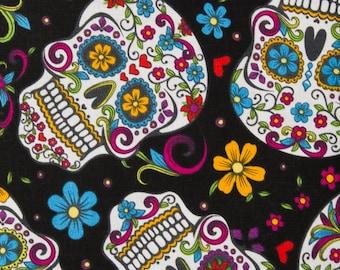 Calavera Black by David Textiles 100% Cotton Fabric by the yard