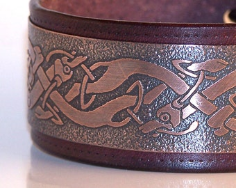 Celtic dogs - mens bracelet, natural leather and etched copper