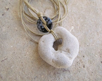 Natural Hole Holey Stone and Obsidian Snowflakes Necklace in Waxed Cord. Sea Amulet Hag Stone. Beach Necklace. Metaphysical Zen Jewelry