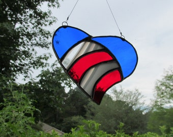 Patriotic Heart Stained Glass  - Authentic Stained Glass - Red, White, Blue -