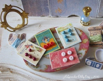 Vintage Button Cards for Dollhouse Sewing