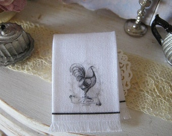 French Rooster Fringed Kitchen Towel for Dollhouse, 1:12 scale miniature