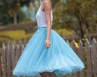On Sale Size S Tulle Skirt Tea length Tutu Skirt Knee length tulle tutu Princess Skirt Wedding Skirt in Light Blue - NC455-20