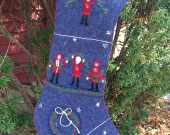 Blue felted wool Christmas stocking