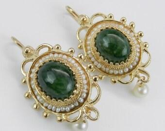 Antique Earrings Victorian Vintage Earrings Jade and Pearl Drop Earrings 14K Yellow Gold