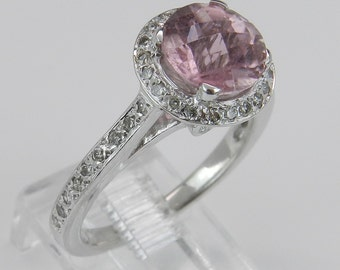 Diamond and Round Pink Tourmaline Halo Engagement Ring 14K White Gold Size 6