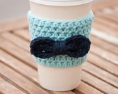 Crochet Coffee Cup Cozy - Robin's Egg Blue with Navy Bow - Coffee Sleeve