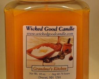Glass Jar Candle Soy Paraffin Blend - Grandma's Kitchen
