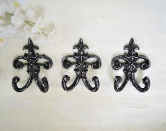 3 Ornate Fleur de lis Cast iron Hook,Towel Hook, Key hook, Jewerly hooks