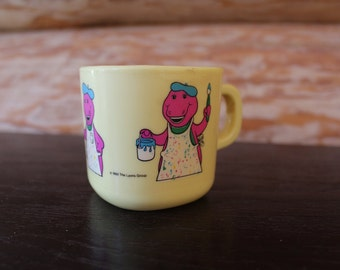 Vntg Barney Painter Theme Yellow Cup