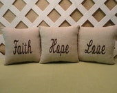 Faith, Hope, and Love Pillow Set  in Oatmeal with Brown Embroidery  3 Pc Grouping