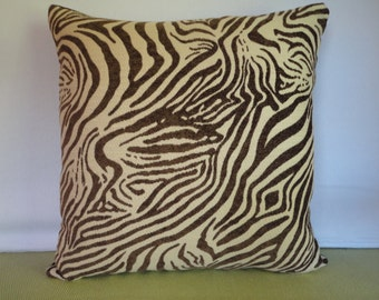 Zebra Print Pillow Cover in Chocolate Brown and Cream / Zebra Pillow / Animal Print Pillow / Cream Brown Pillow / Decorative Pillow
