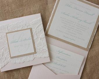 Beautiful Vintage Lace Wedding Invitation in Blush & Mint