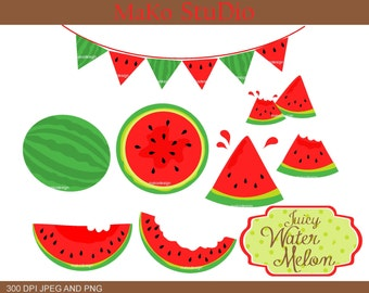 watermelon clip art ,summer melon Digital clip art, summer fruits,red watermelon,JPEG & PNG,instant download