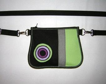 Small Belt Bag mini Hip Bag -bike tote- little sling purse /festival wallet/  small crossbody bag Mixed Fabrics in Black-Lime-Gray-Purple