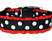 "Polka Dot Dog Collar 1.5"" Ruffle Dog Collar"