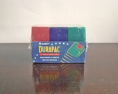 set of 3 vintage Durapac floppy disk boxes in pink, blue, and green by Avery / New Year get organized