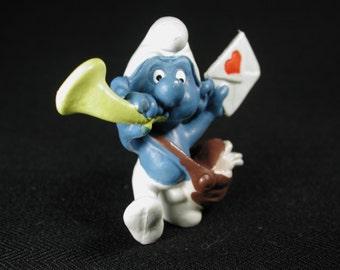Vintage Postman Smurf Figurine