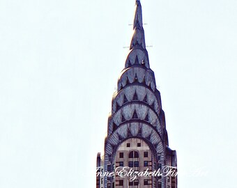 New York Art,Chrysler Building,Art Deco Print,Manhatten,Dorm Decor,Architecture,Skyline,Elegance,Minimalist,Chic,Travel Theme,Silver Art