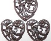 Large Floral Ribbon Heart Stamping, Dark Chocolate Kiss, Item07160