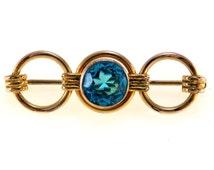 Art Deco Triple Circle Bar Pin Faux Zircon Stone